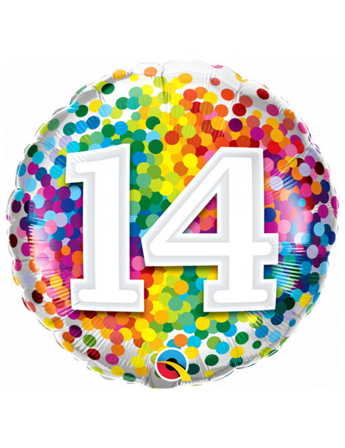 18 inch Rainbow Confetti 14th Birthday Balloon