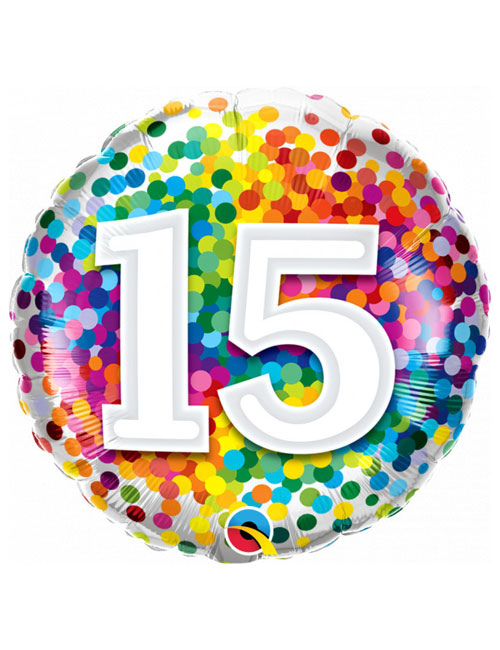 18 inch Rainbow Confetti 15th Birthday Balloon