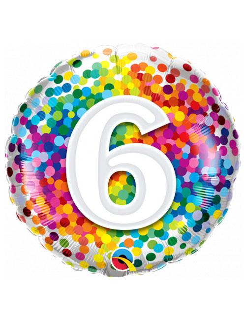 18 inch Rainbow Confetti 6th Birthday Balloon