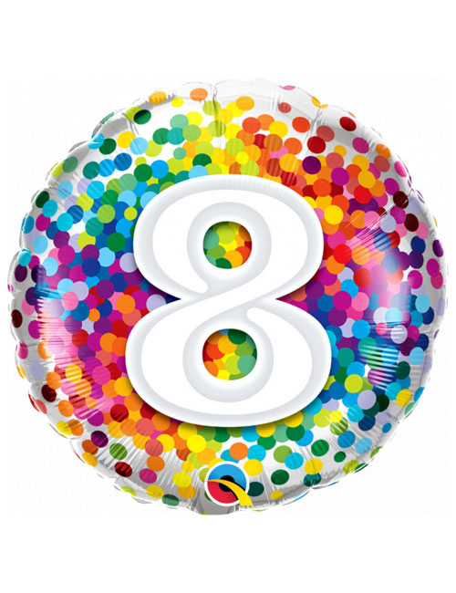 18 inch Rainbow Confetti 8th Birthday Balloon