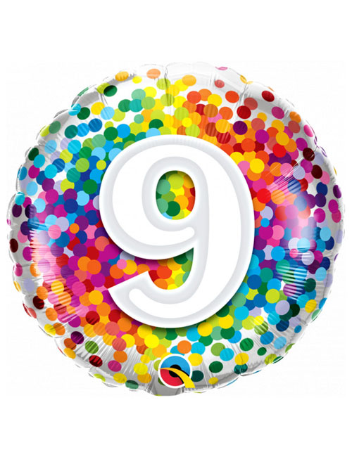 18 inch Rainbow Confetti 9th Birthday Balloon