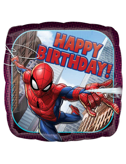18 inch Spiderman Square Happy Birthday Balloon