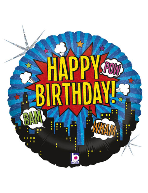 18 inch Superhero Happy Birthday Balloon