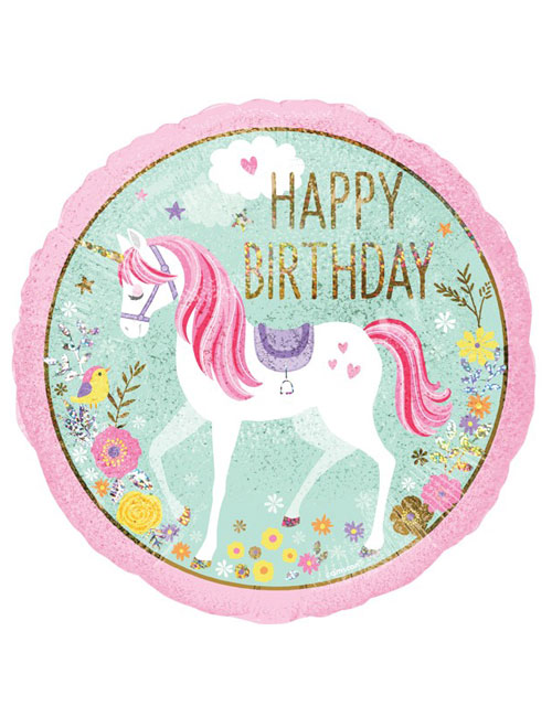 18 inch Unicorn Happy Birthday Balloon