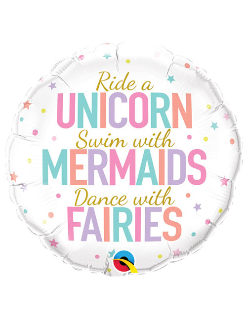 18 inch Unicorns Mermaids Fairies Balloon