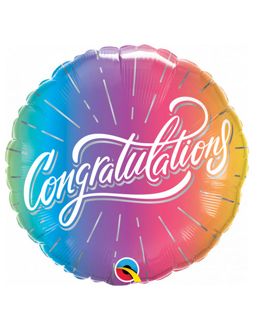 18 inch Vibrant Ombre Congratulations Balloon