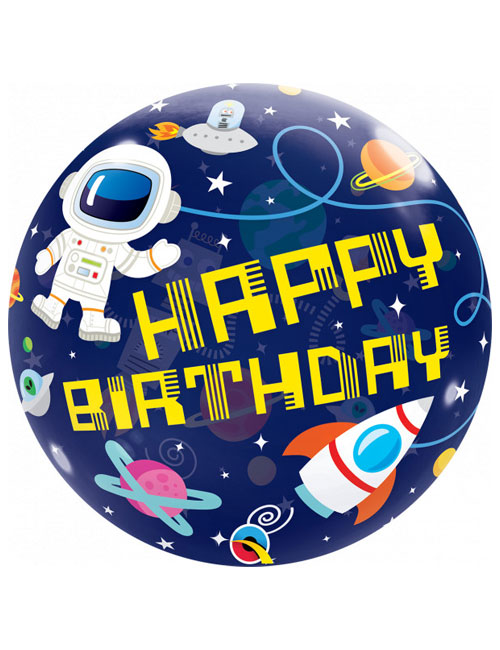 22 inch Bubble Outer Space Happy Birthday