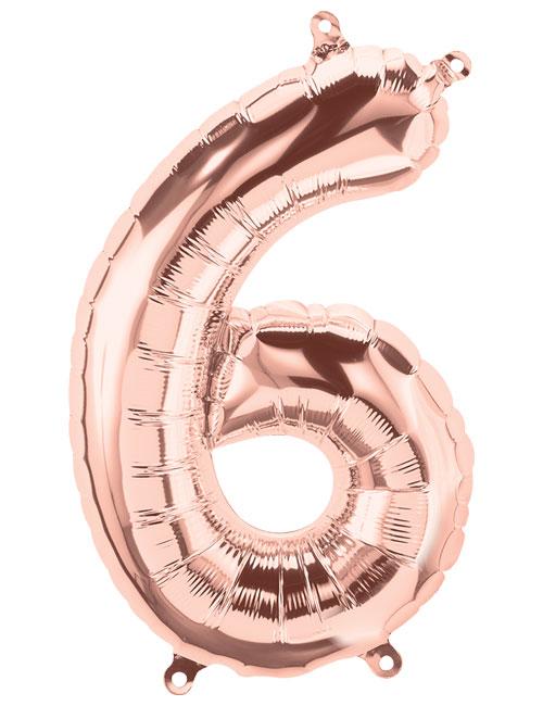 16 inch Rose Gold Number 6