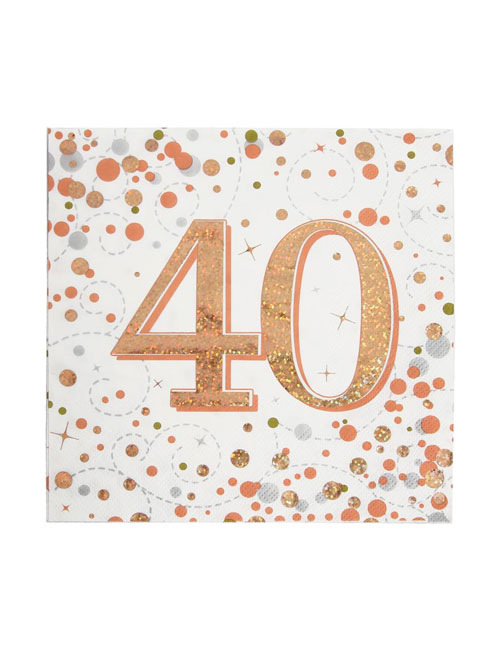 Rose Gold Fizz 40th Birthday Napkins