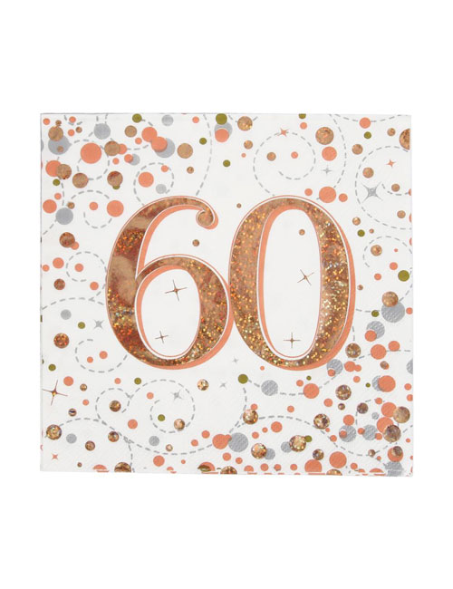Rose Gold Fizz 60th Birthday Napkin