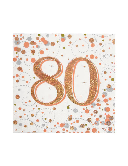 Rose Gold Fizz 80th Birthday Napkin