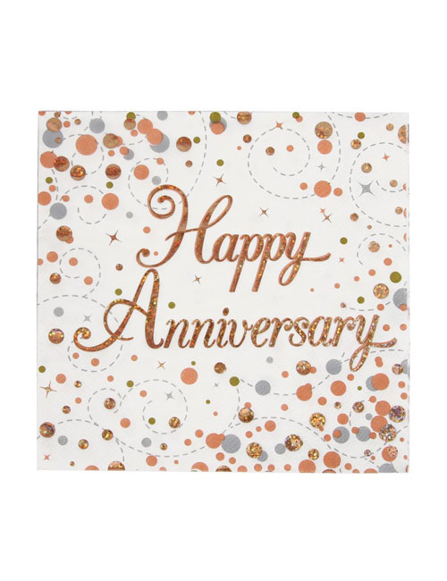 Rose Gold Fizz Happy Anniversary Napkins