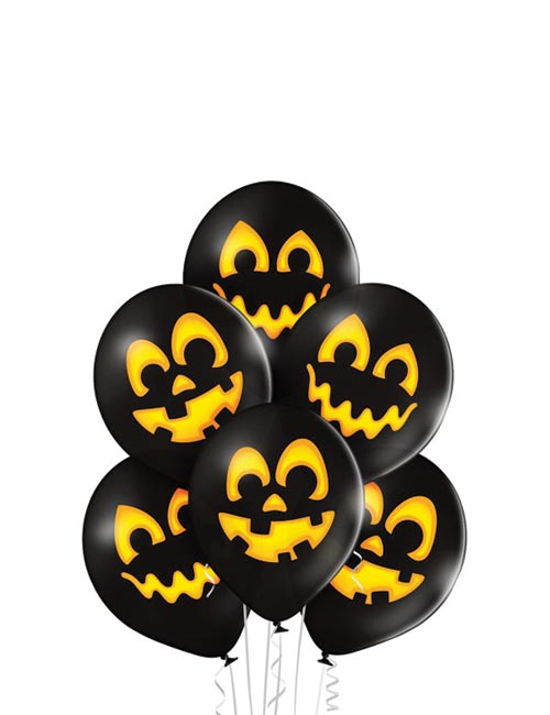 12 inch Black and Gold Pumpkin Latex Balloons