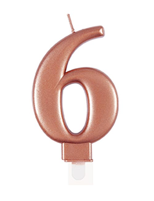 Rose Gold Candle Number 6