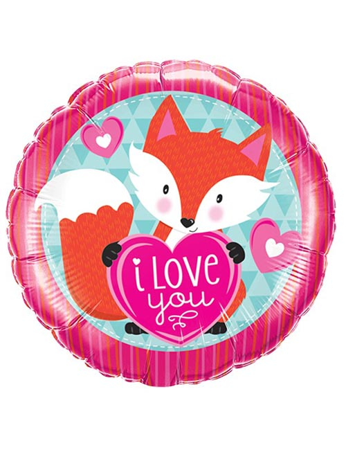 Fox Heart Love You Foil Balloon