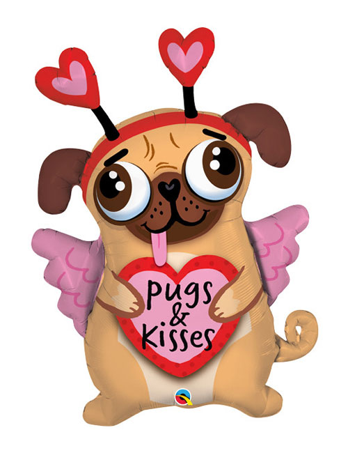 Pugs and Kisses Shape Balloon