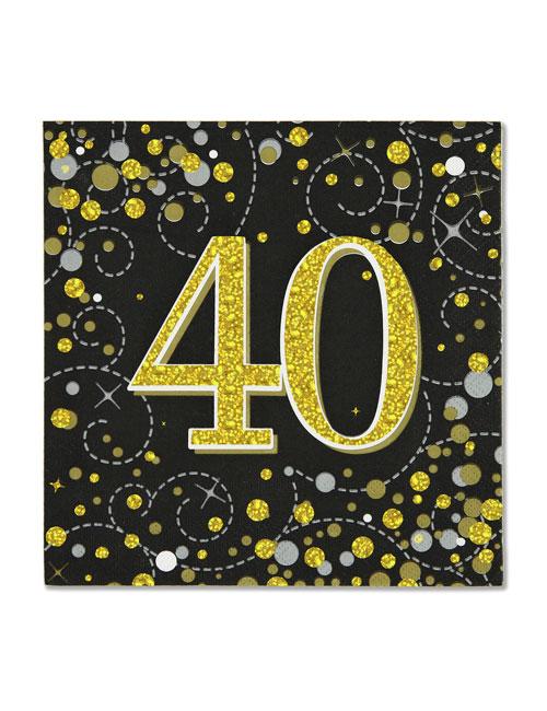 40th Black Napkin