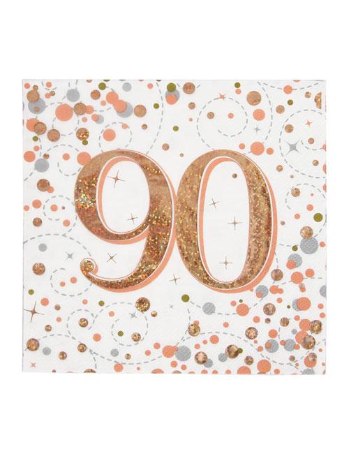 90th Rose Gold Napkins
